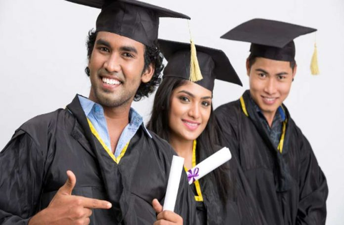 three people take a degree